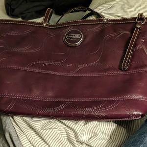 Purple Paten Leather Coach Handbag (damaged)